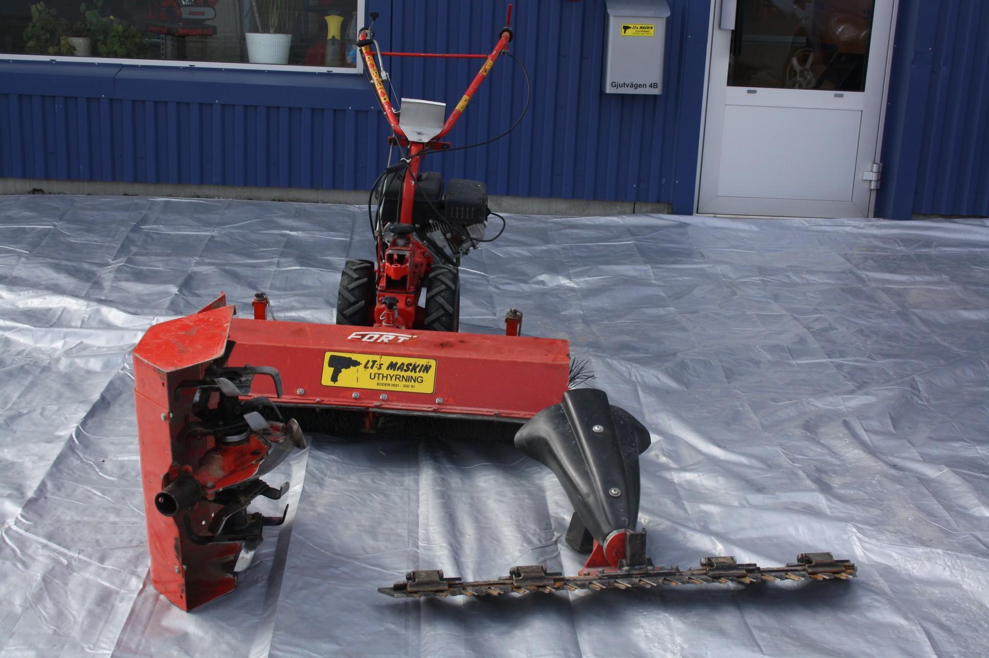 Handtraktor för jordfräs, slåtterbalk, sopvals